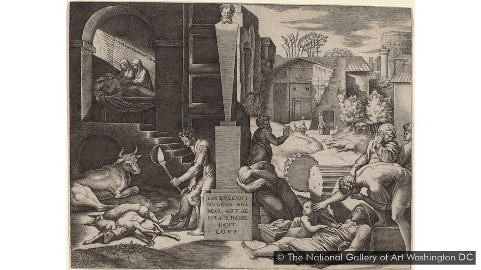 This 16th-Century engraving is by Raimondi (Credit: The National Gallery of Art Washington DC)