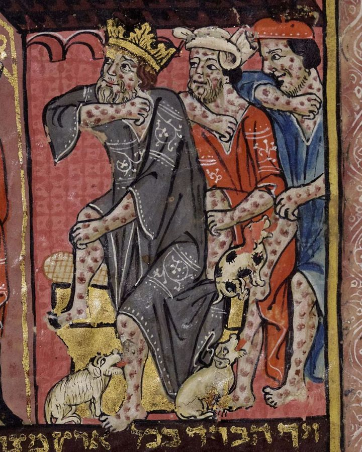Plague is portrayed as a punishment in this 14th-Century illustration (Credit: Rylands Library/ University of Manchester)