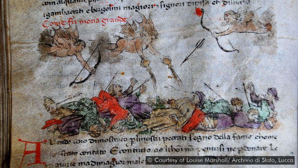 This early illustrated manuscript depicts the Black Death (Credit: Courtesy of Louise Marshall/ Archivio di Stato, Lucca)
