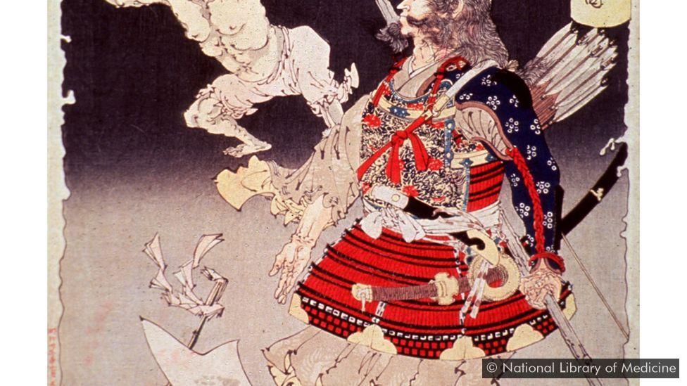 Tsukioka Yoshitoshi's 1892 artwork shows a warrior resisting smallpox demons (Credit: National Library of Medicine)