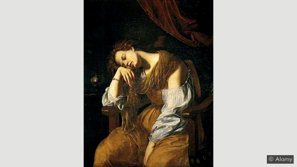 Gentileschi removed many of the emblems from Dürer, focusing on the human and a posture of despondency (Credit: Alamy)