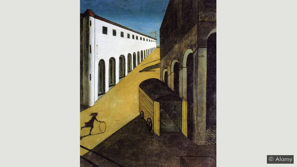 Again featuring a hoop, De Chirico's Melancholy and Mystery of the Street abandons the usual weary seated figure for a collection of eerie vanishing points (Credit: Alamy)