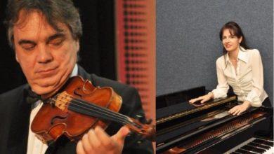 """Photo of Српското дуо Владимир Марковиќ на виолина и пијанистката Јулијана Шуловиќ вечер на """"Охридско лето"""""""
