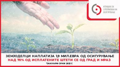 Photo of Осигурителни компании исплатија 1,9 милиони евра за штети од град и мраз, 72 отсто од вредноста на сите земјоделски штети